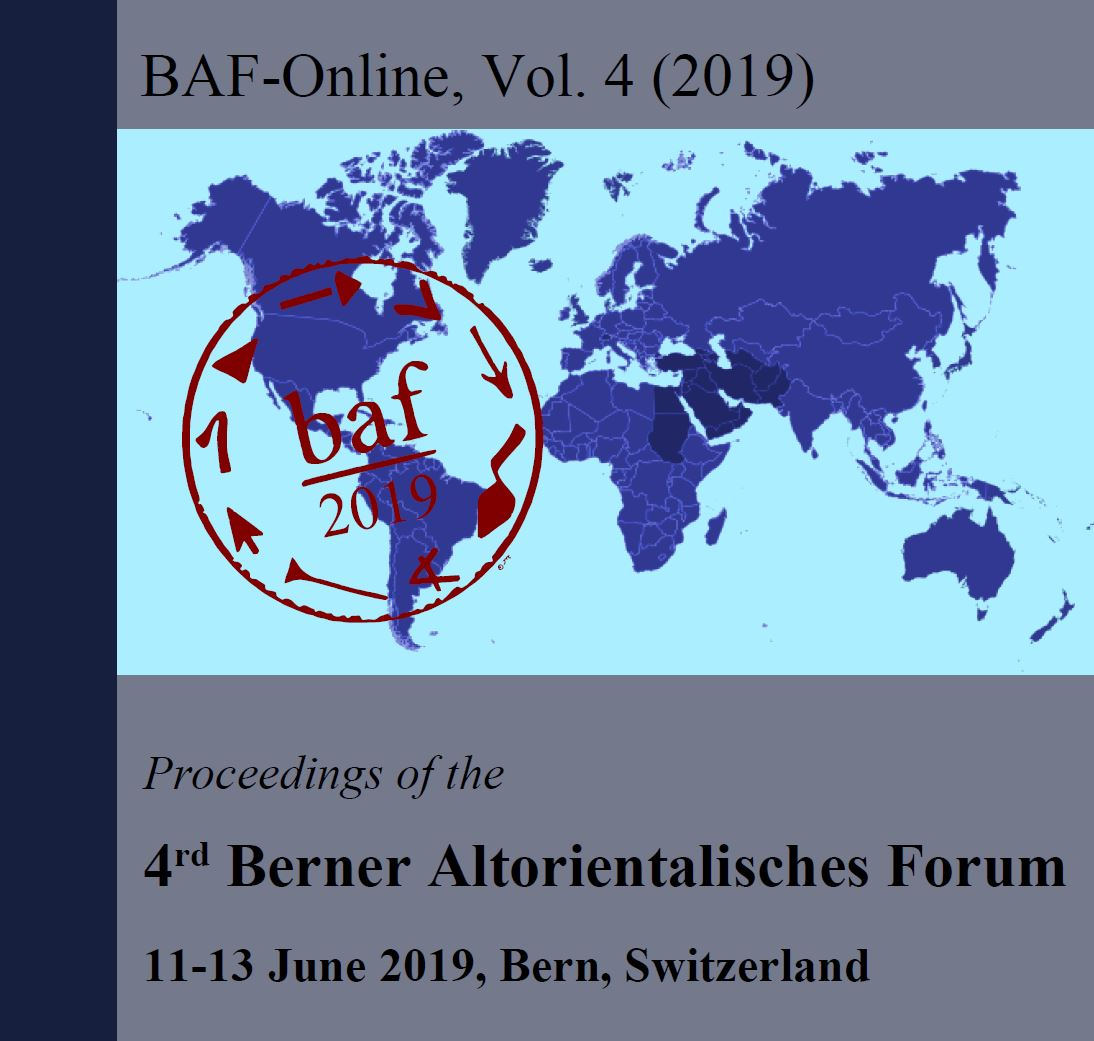 View Vol. 4 No. 1 (2019): Proceedings of the 4th Berner Altorientalisches Forum (BAF), 11th-13th June 2019