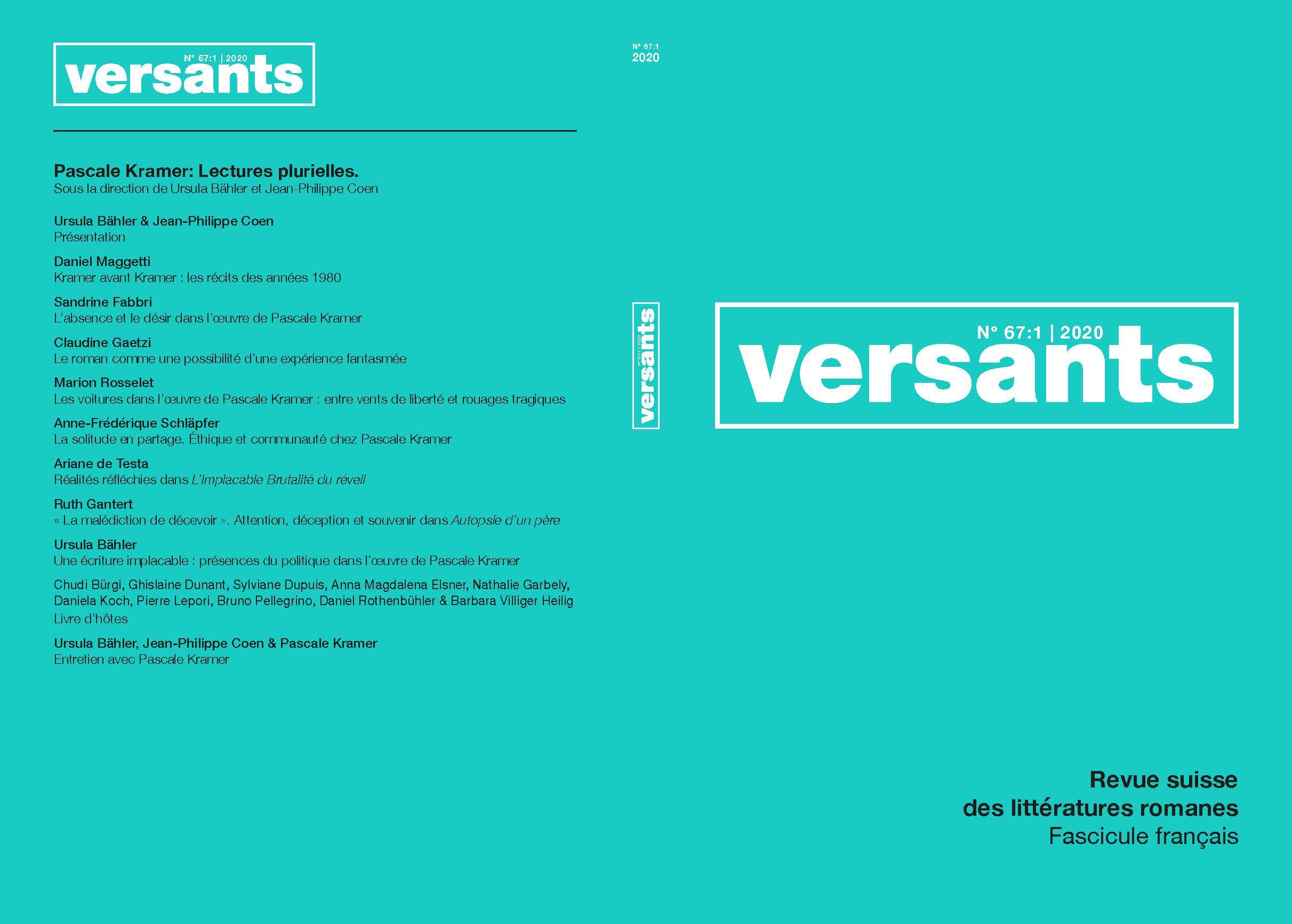 Ver Vol. 1 Núm. 67 (2020): Pascale Kramer: Lectures Plurielles