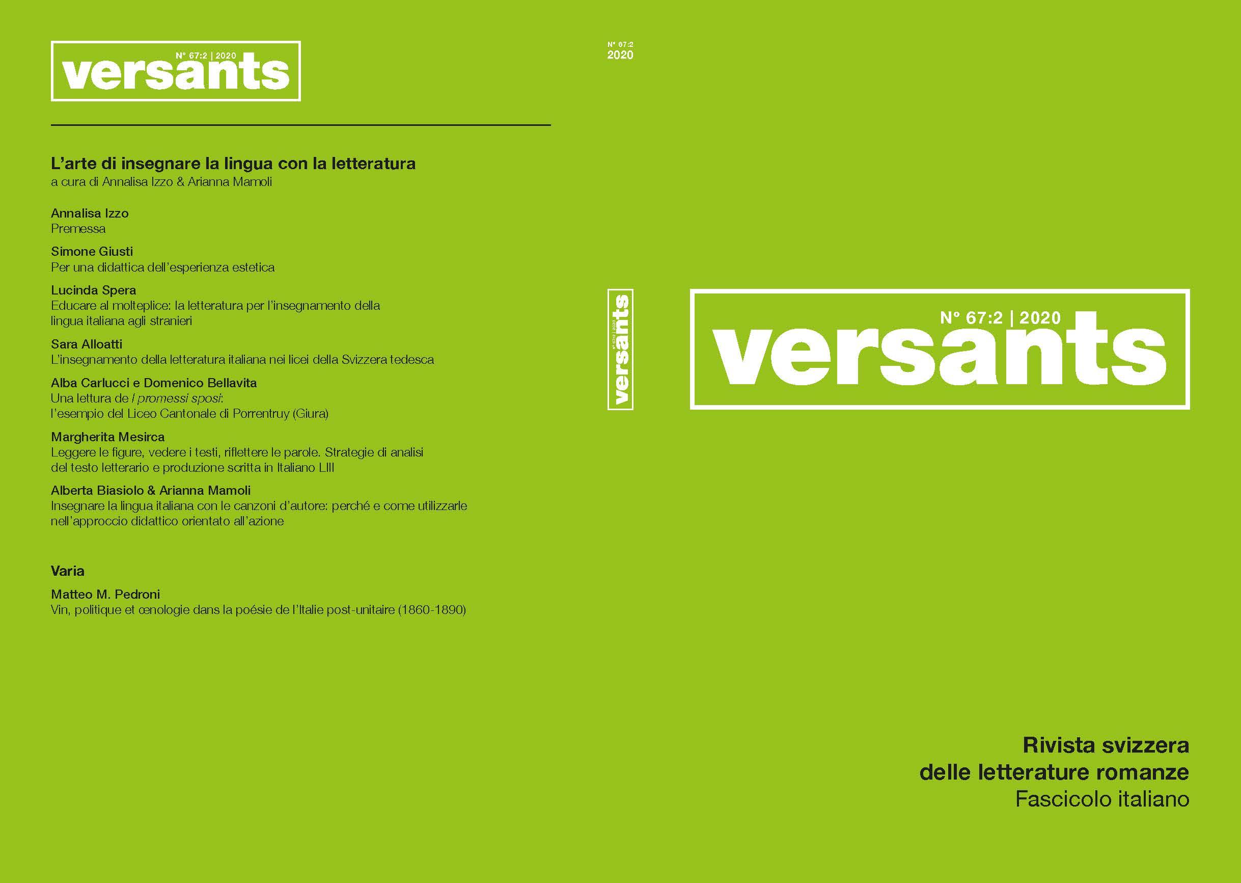 Ver Vol. 2 Núm. 67 (2020): L'arte di insegnare la lingua con la letteratura