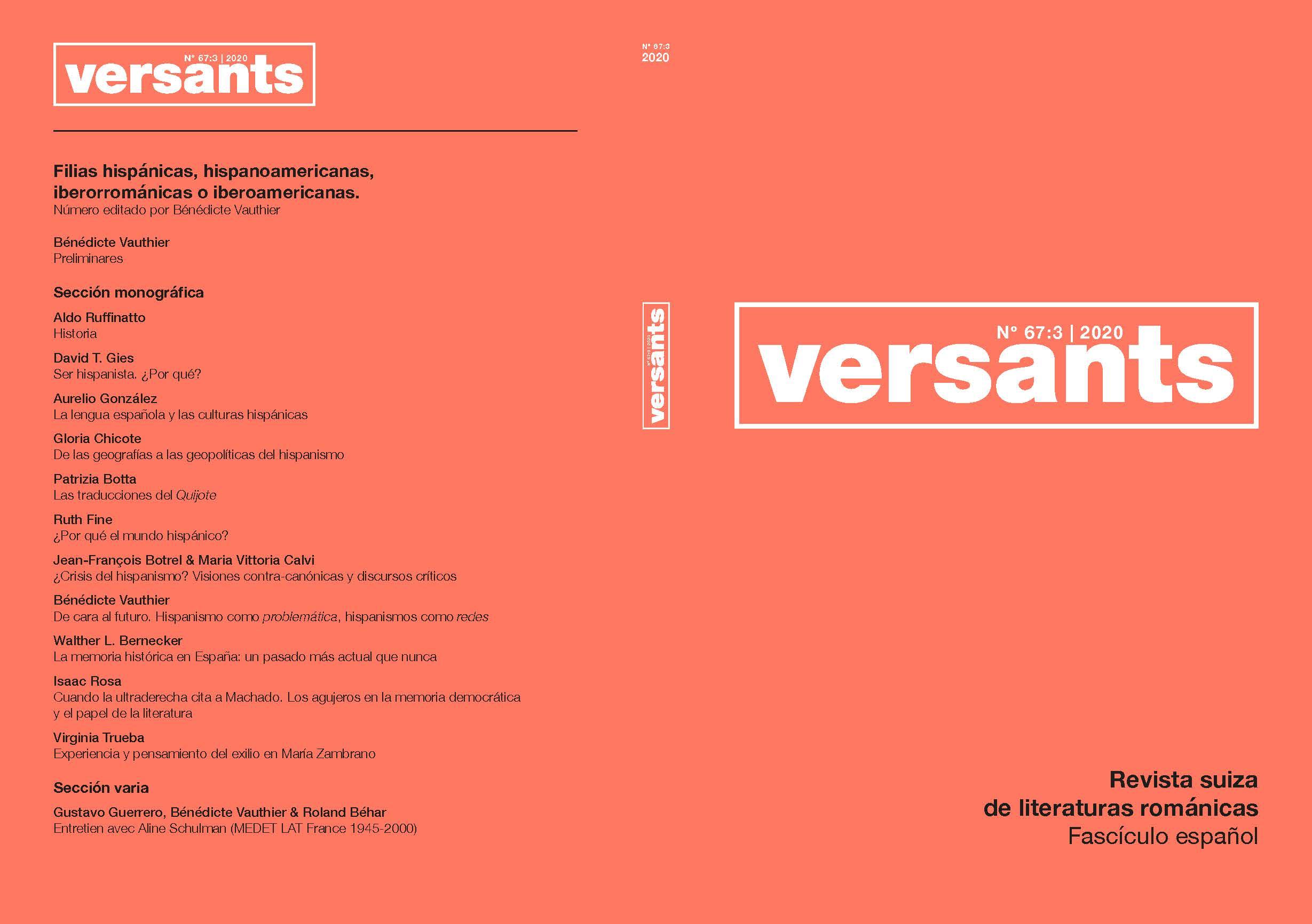 Ver Vol. 3 Núm. 67 (2020): Filias... hispánicas, hispanoamericanas, iberorrománicas o iberoamericanas