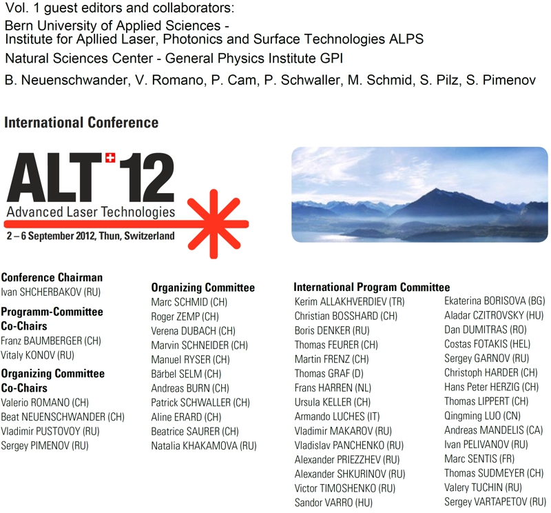 ALT 12 Conference, Gwatt, Sept. 2 -6, Switzerland